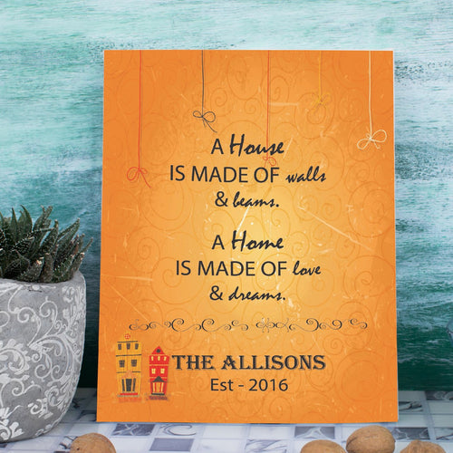 Home is Made of Love Personalized Canvas