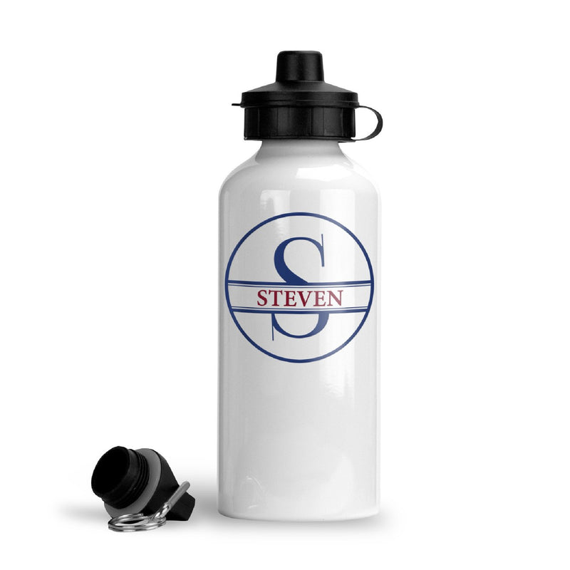 Personalized Circle Monogram Water Bottle (Blue)
