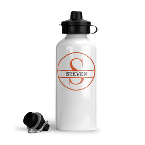 Personalized Circle Monogram Water Bottle (Orange)