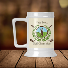 Personalized Golf Champion Beer Stein