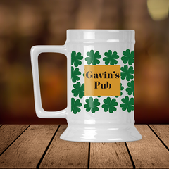 Lucky Clover Personalized Pub Stein