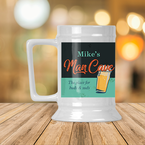 Personalized Man Cave Beer Stein