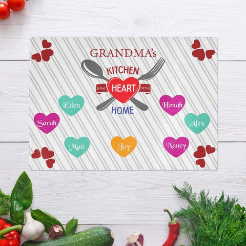 SavvyGifts Grandma's Kitchen is the Heart of the Home Personalized Glass Cutting Board