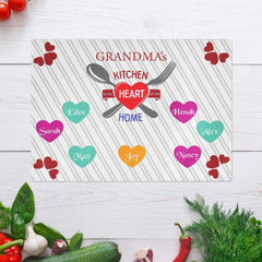 Savvy Custom Gifts Grandma's Kitchen is the Heart of the Home Personalized Glass Cutting Board