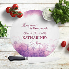 Savvy Custom Gifts Mom's Kitchen of Happiness Personalized Glass Cutting Board