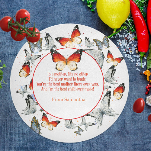Savvy Custom Gifts Butterfly Personalized Best Mother & Child Glass Cutting Board