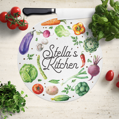 Savvy Custom Gifts Personalized Veggie Glass Cutting Board