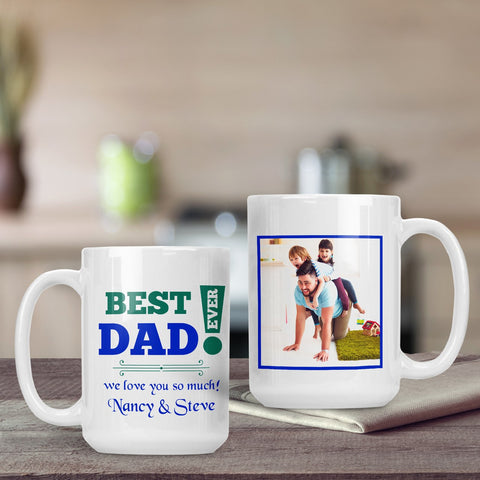 SavvyGifts Best Dad Ever Personalized 15 Oz Mug