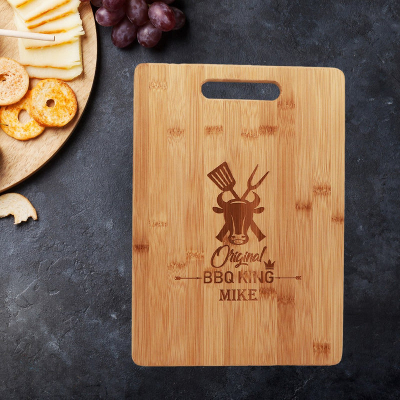 Savvy Custom Gifts BBQ King Personalized Bamboo Cutting Board