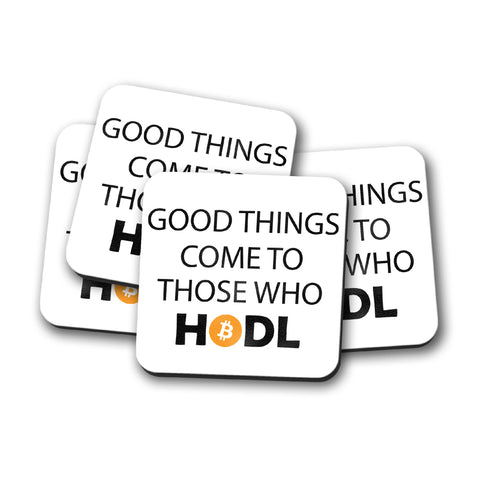 """Jeans and Shovels"" Good Things Come To Those Who HODL Crypto Coaster Set"