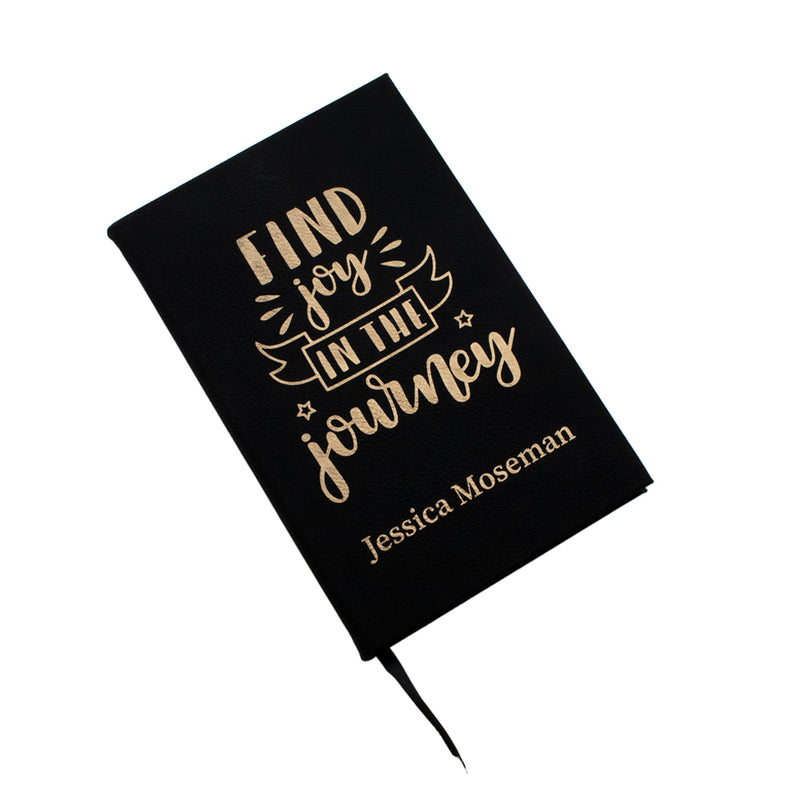 Finding Joy in the Journey Black & Gold Personalized Leatherette Journal