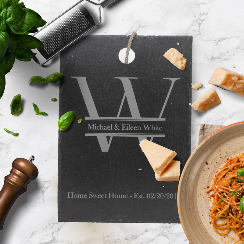 "Personalized ""Home Sweet Home"" With Family Monogram Slate Cutting Board"