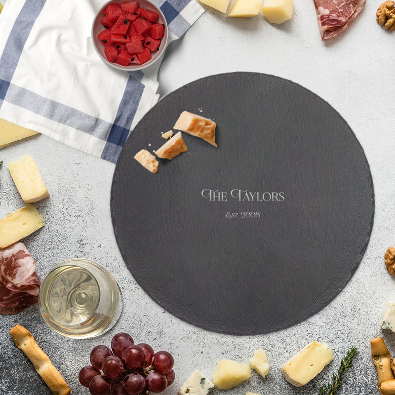 Personalized Your Family Name Round Slate Cutting Board