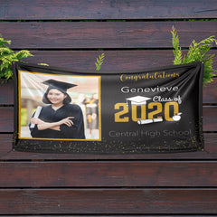 Personalized Graduation Photo Banner-Black Background