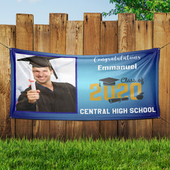 Personalized Graduation Photo Banner - Blue Background