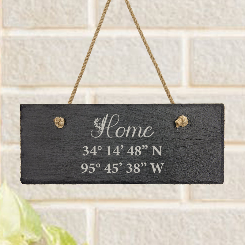 Our Home Latitude and Longitude Personalized Slate Decor