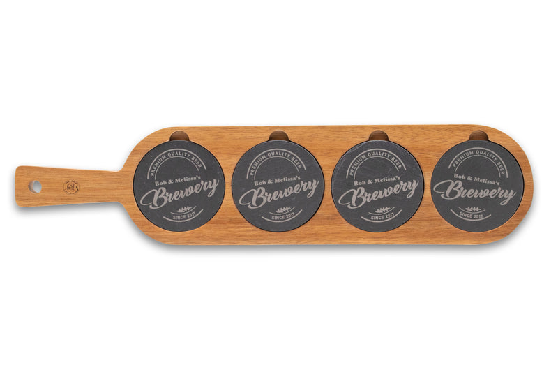 Share A Brew Personalized Acacia Wood Serving Board