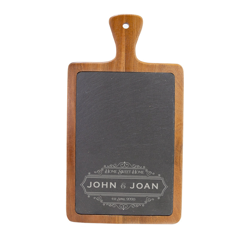 Gracious Hospitalisty Personalized Acacia Wood & Slate Serving Paddle