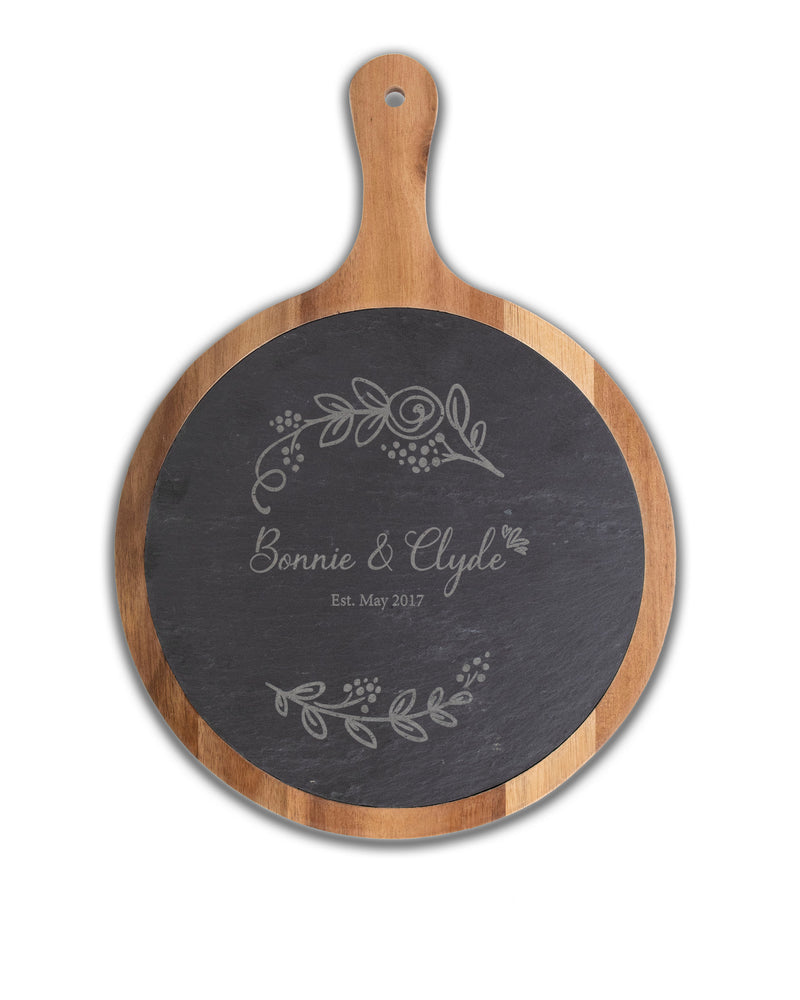Personalized Chateaux Famille Round Acacia Wood & Slate Serving Paddle