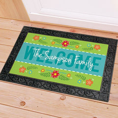 Personalized Spring Welcome Doormat - With Frame