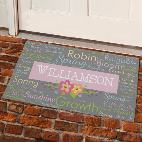 Personalized Spring Words Doormat 24''x 36''