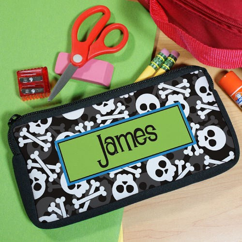 Personalized Skull and Crossbones Pencil Pouch