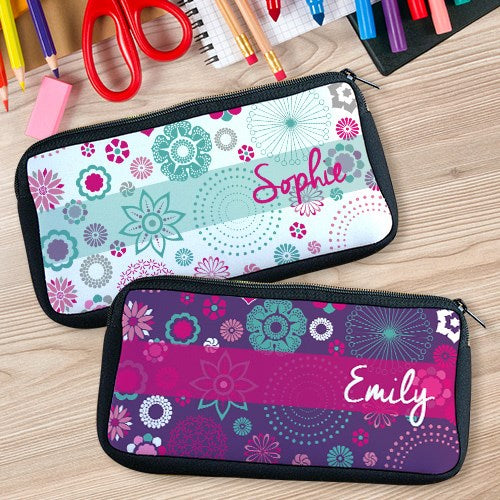 Personalized Floral Pencil Case