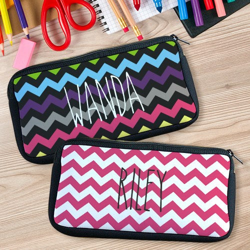 Personalized Chevron Pencil Case