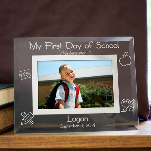 Engraved First Day of School Glass Picture Frame