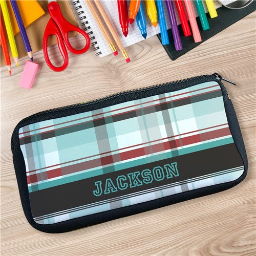 Personalized Blue Plaid Pencil Case
