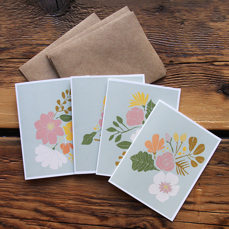 Handmade set of 4 'Floral' greeting cards by Leah Duncan.