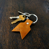 Leather keyring in camel nubuck by Me & Arrow 1