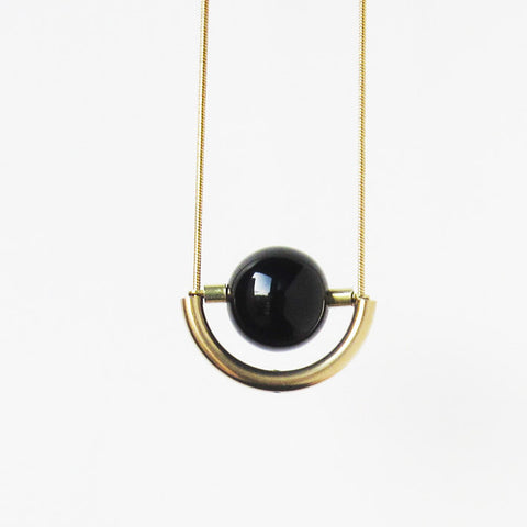 Onyx and Brass Arch Necklace