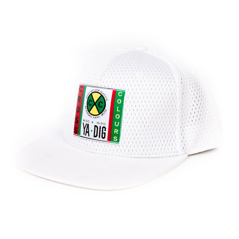 Mesh High Crown Woven Label 6 Panel Hat (White)