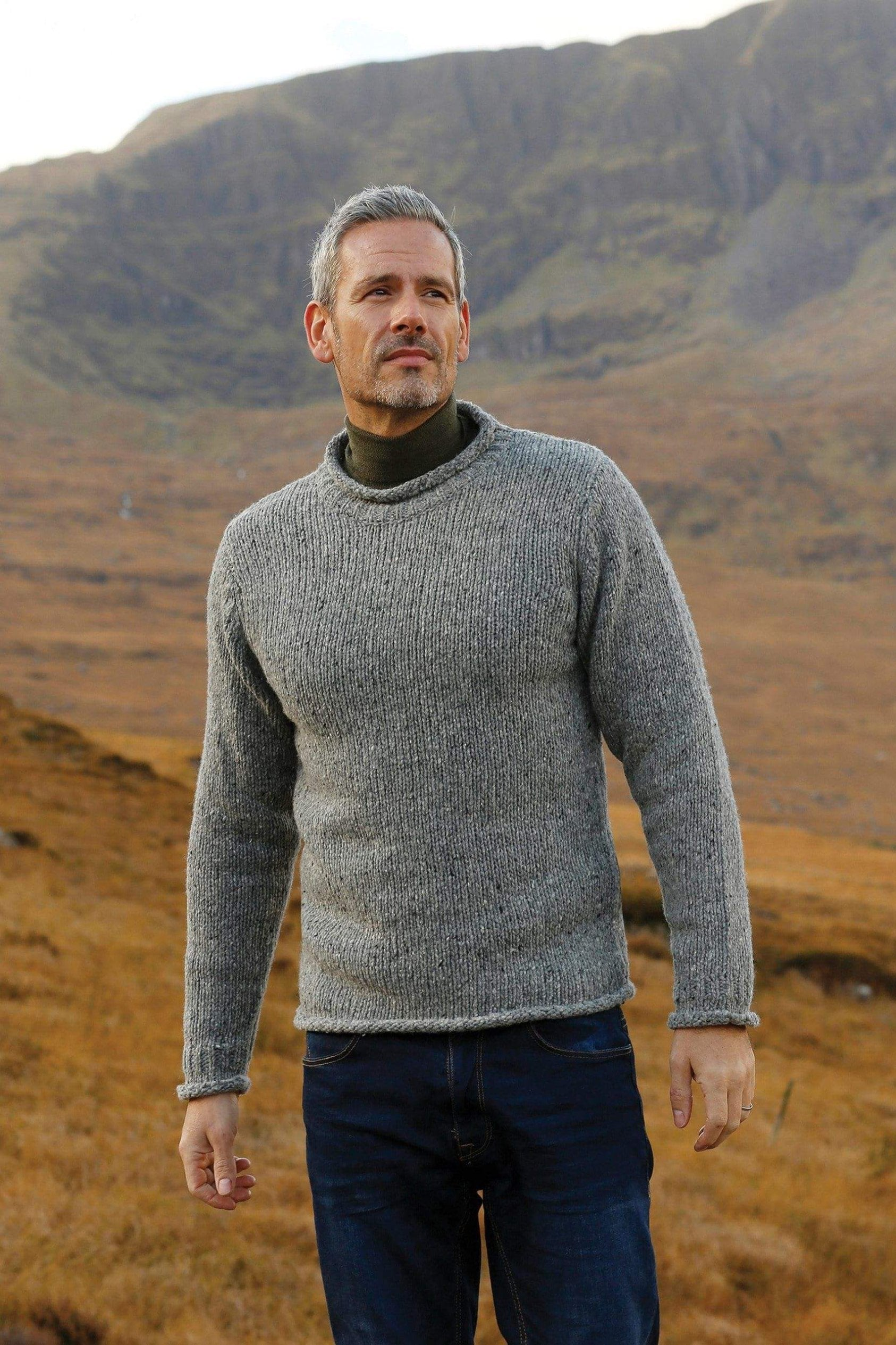 d5f8dbb9d Mens Roll neck Aran fishermans sweater – aran sweaters ireland