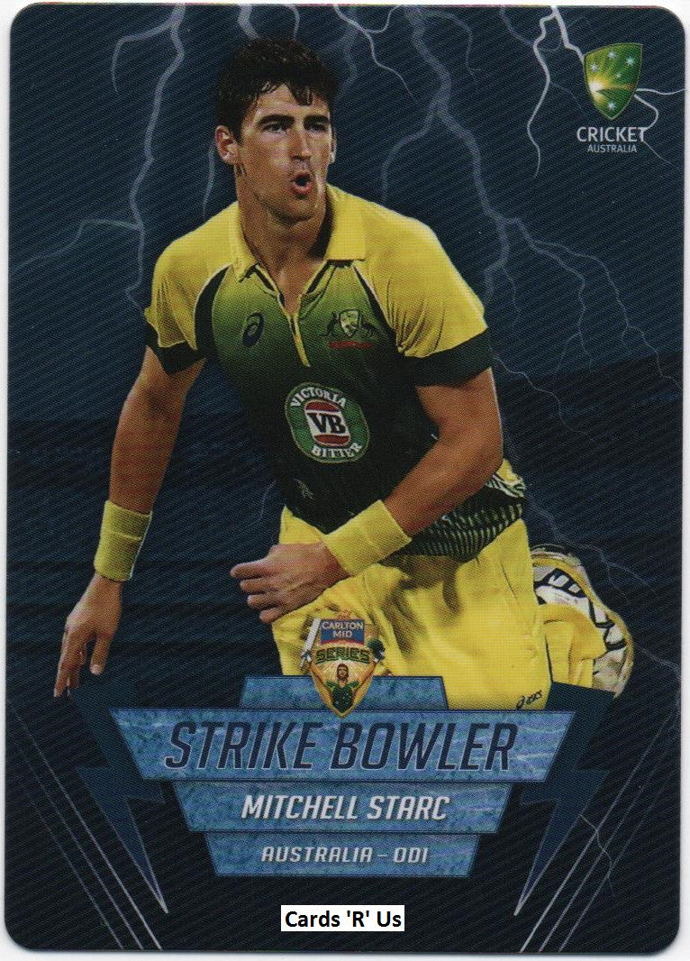 2014-15 Tap 'N' Play Cricket Strike Bowlers Card SB14 Mitchell Starc
