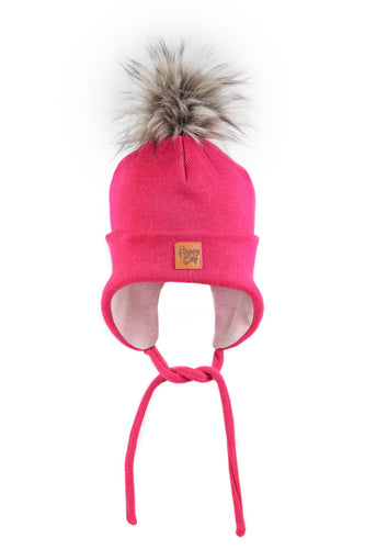 Merinovilla Double Beanie Furry, Pinkki HAPPY CAP