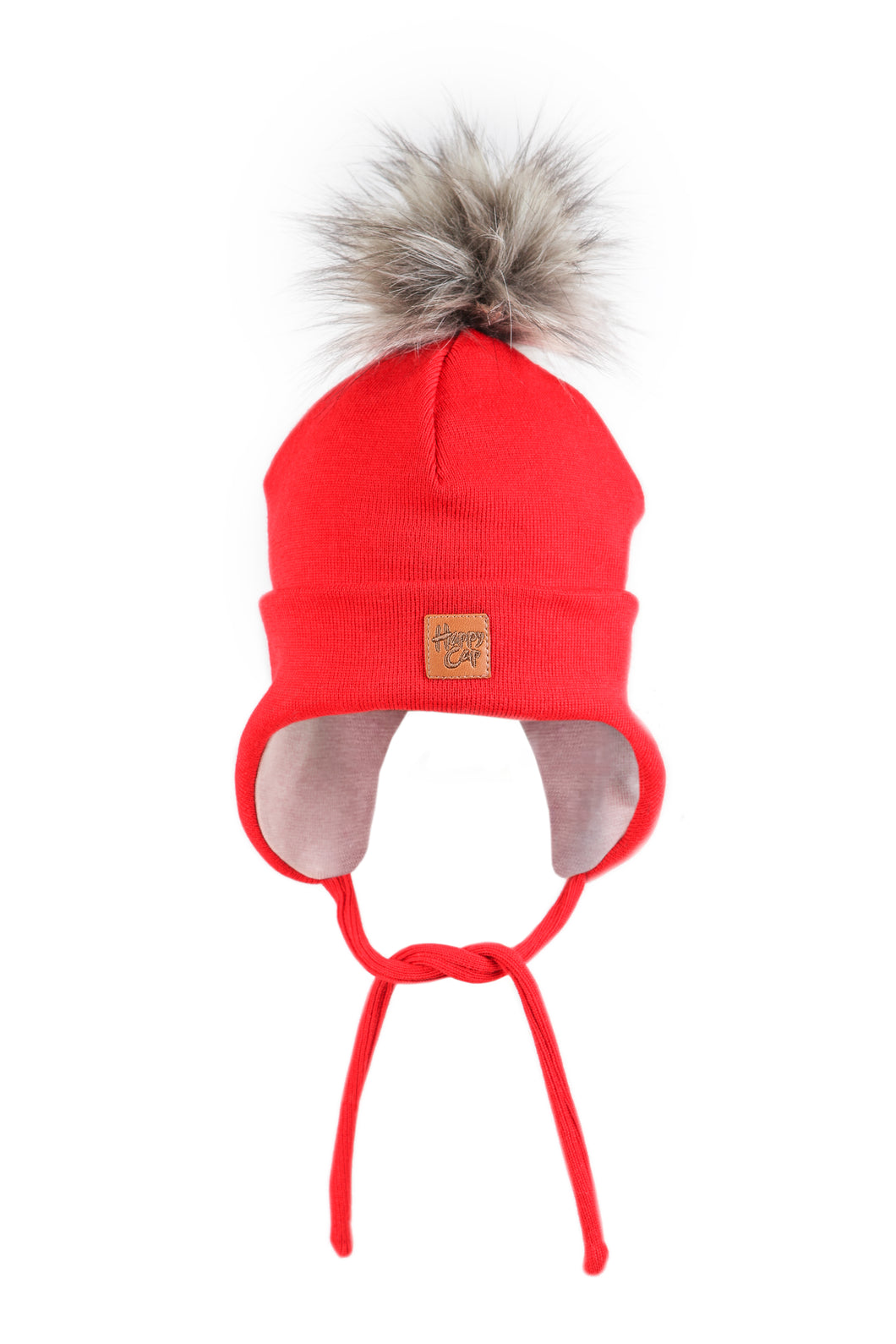Merinovilla Double Beanie Furry, Punainen HAPPY CAP
