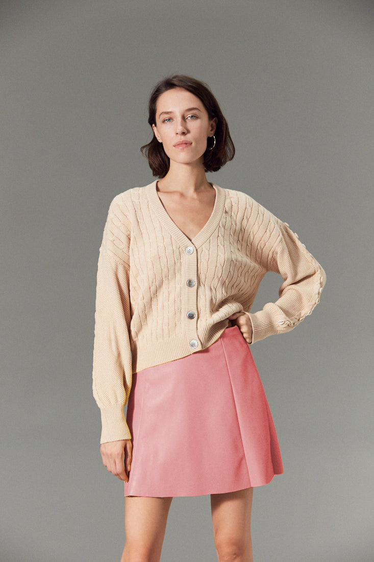 Circle Leather Skirt Wild Rose