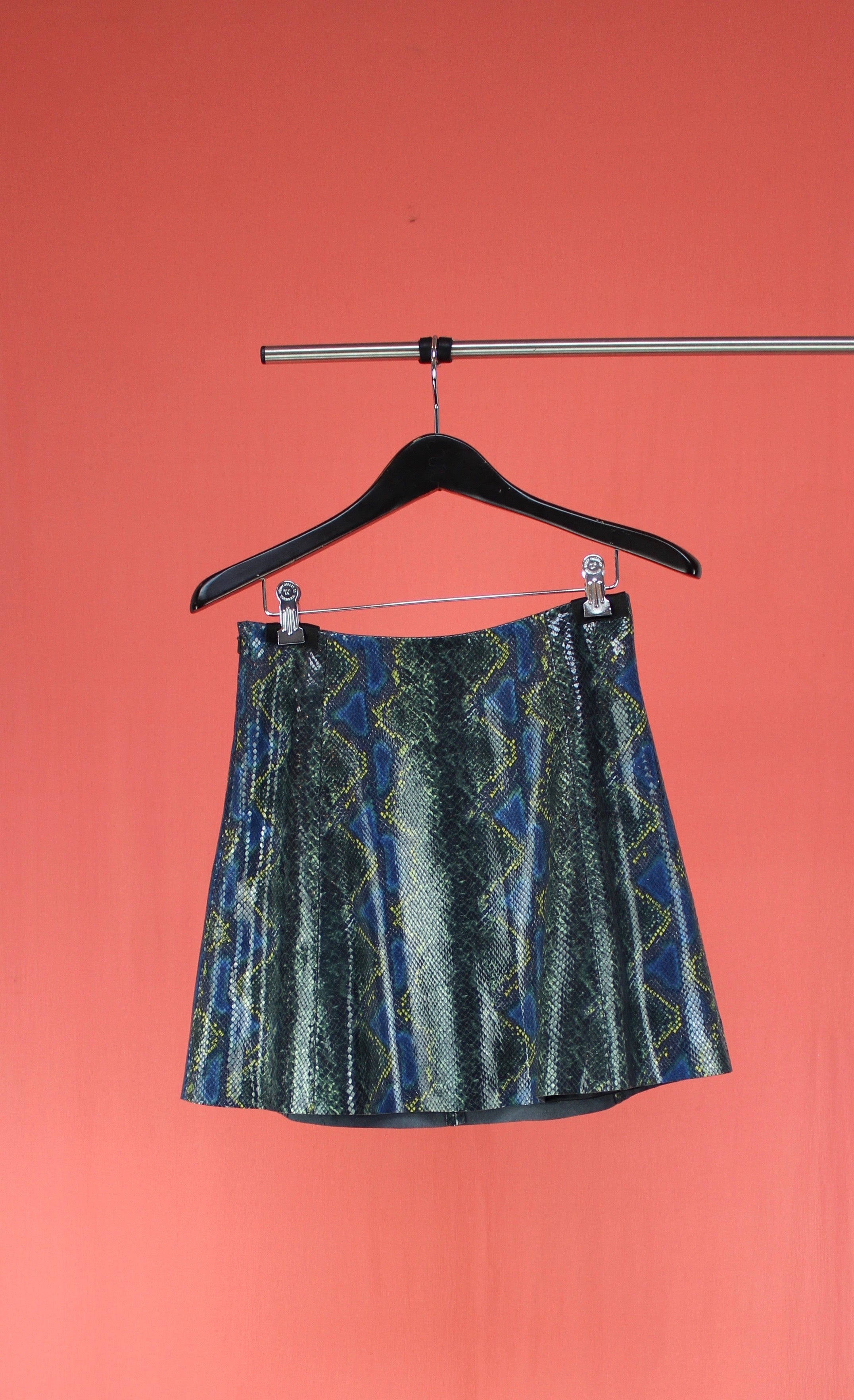 Circle Leather Skirt Jewel Snake