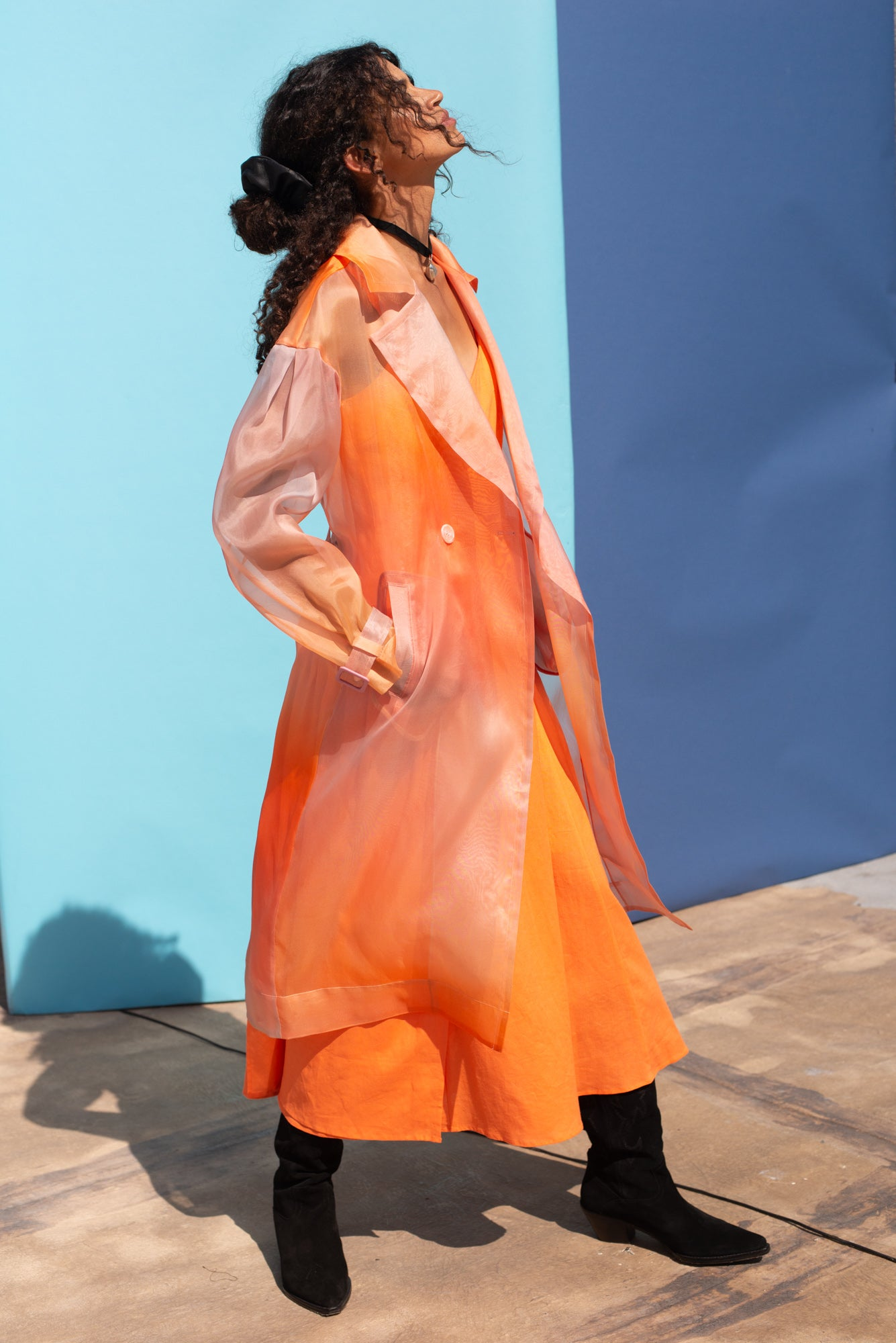 Dos Organza Trench Sunset Ombre