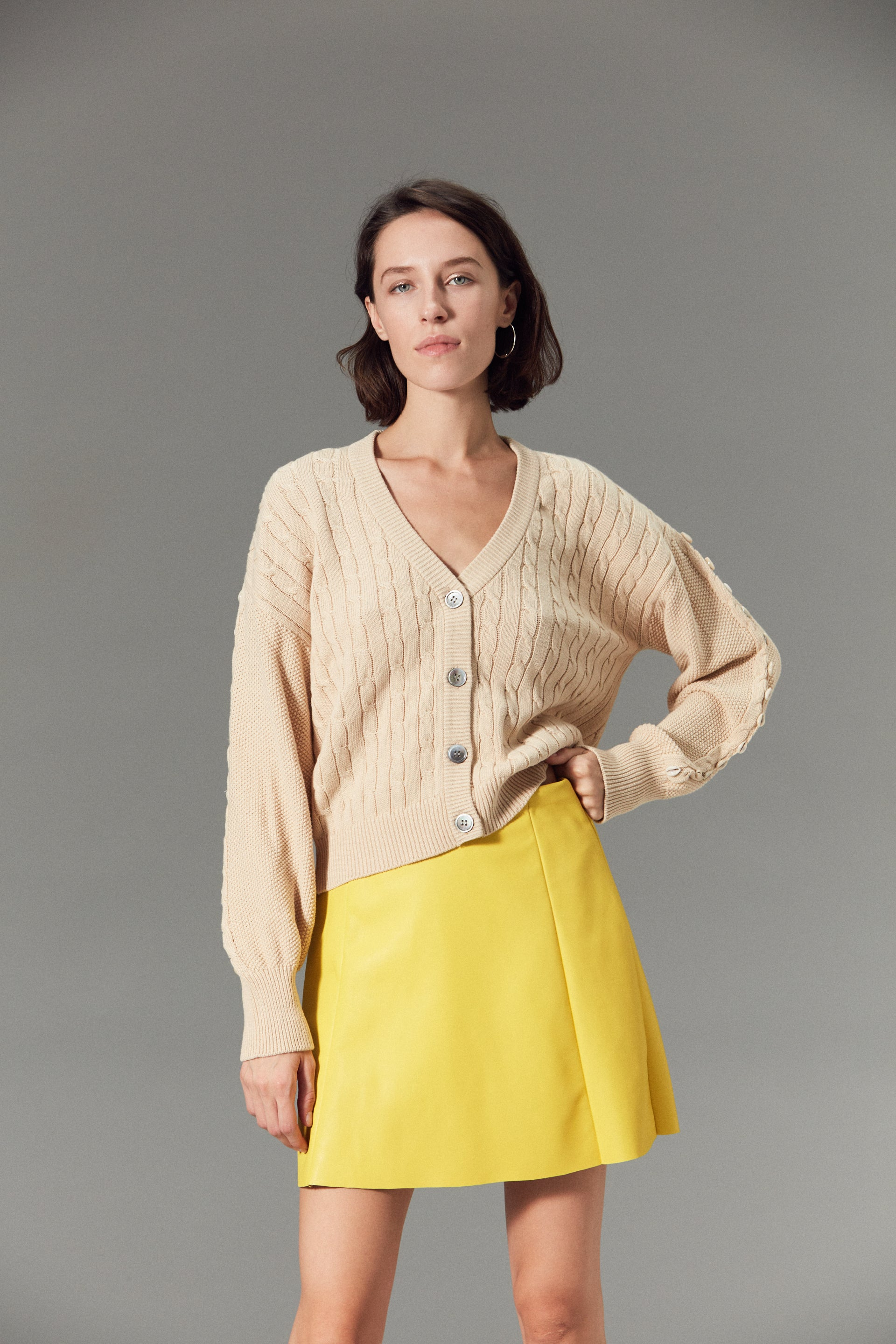 Circle Leather Skirt Limone