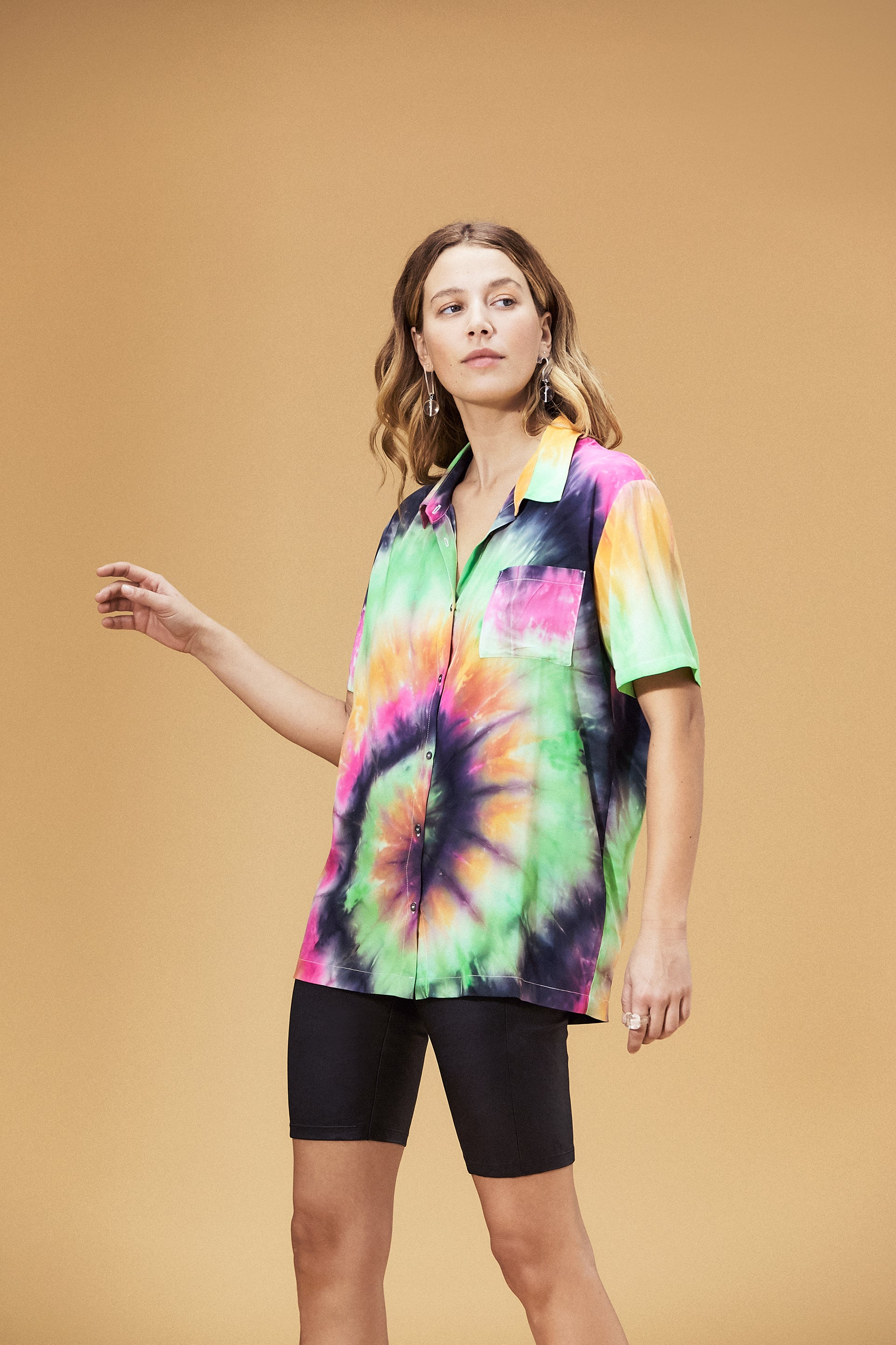 Belize Button Down Top Summer Tie Dye