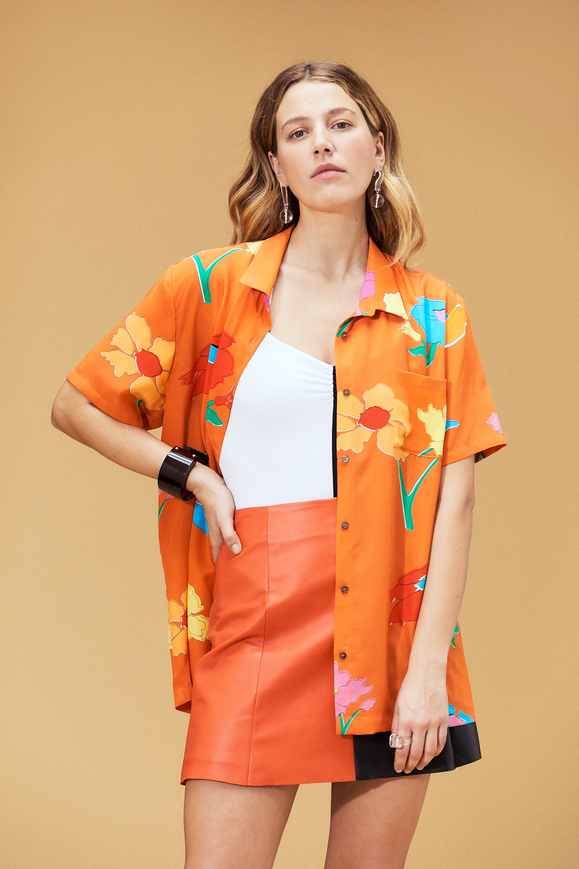 Belize Silk Button Down Top Big Floral Coral