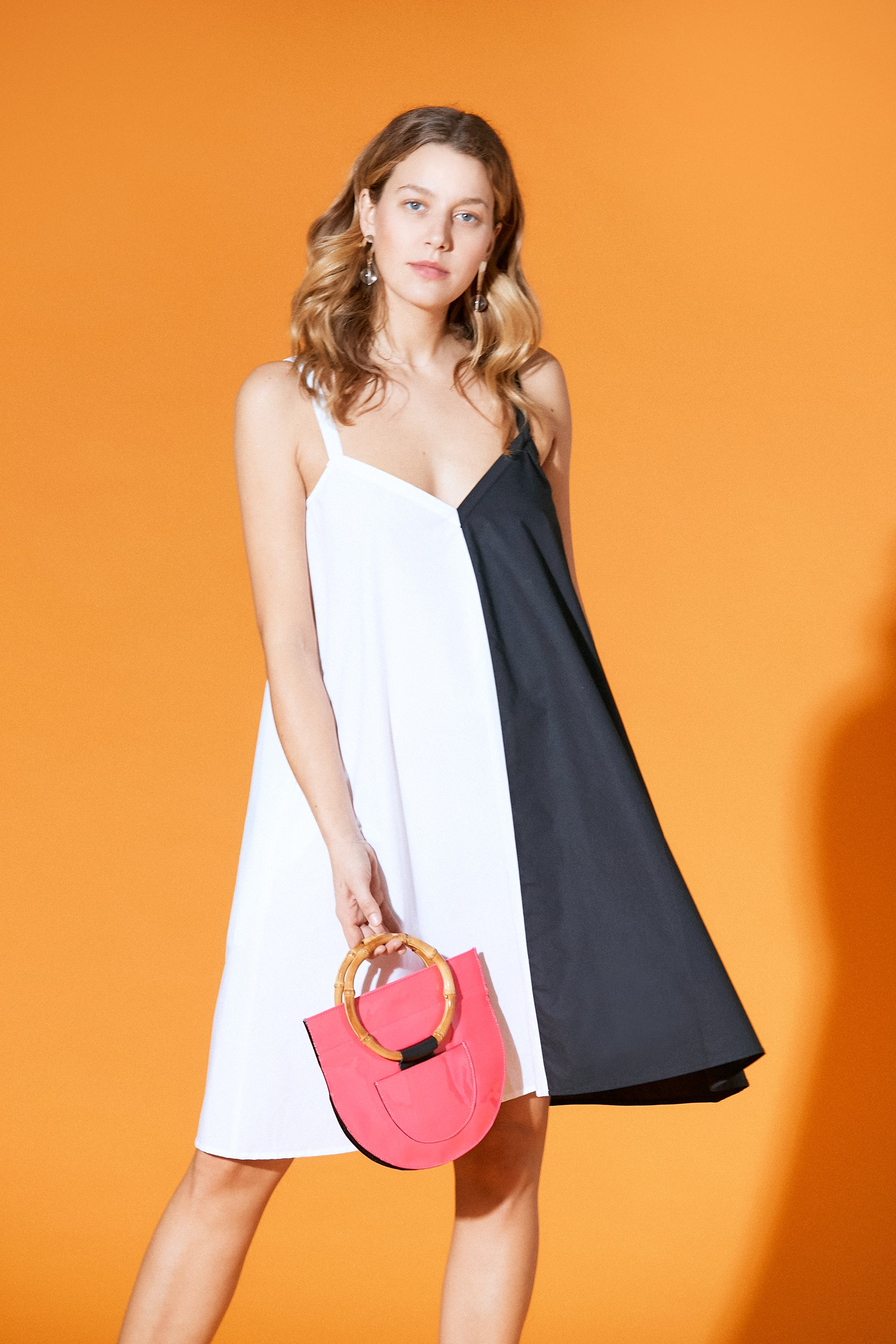 Fiesta Mini Cotton Dress White Black Split