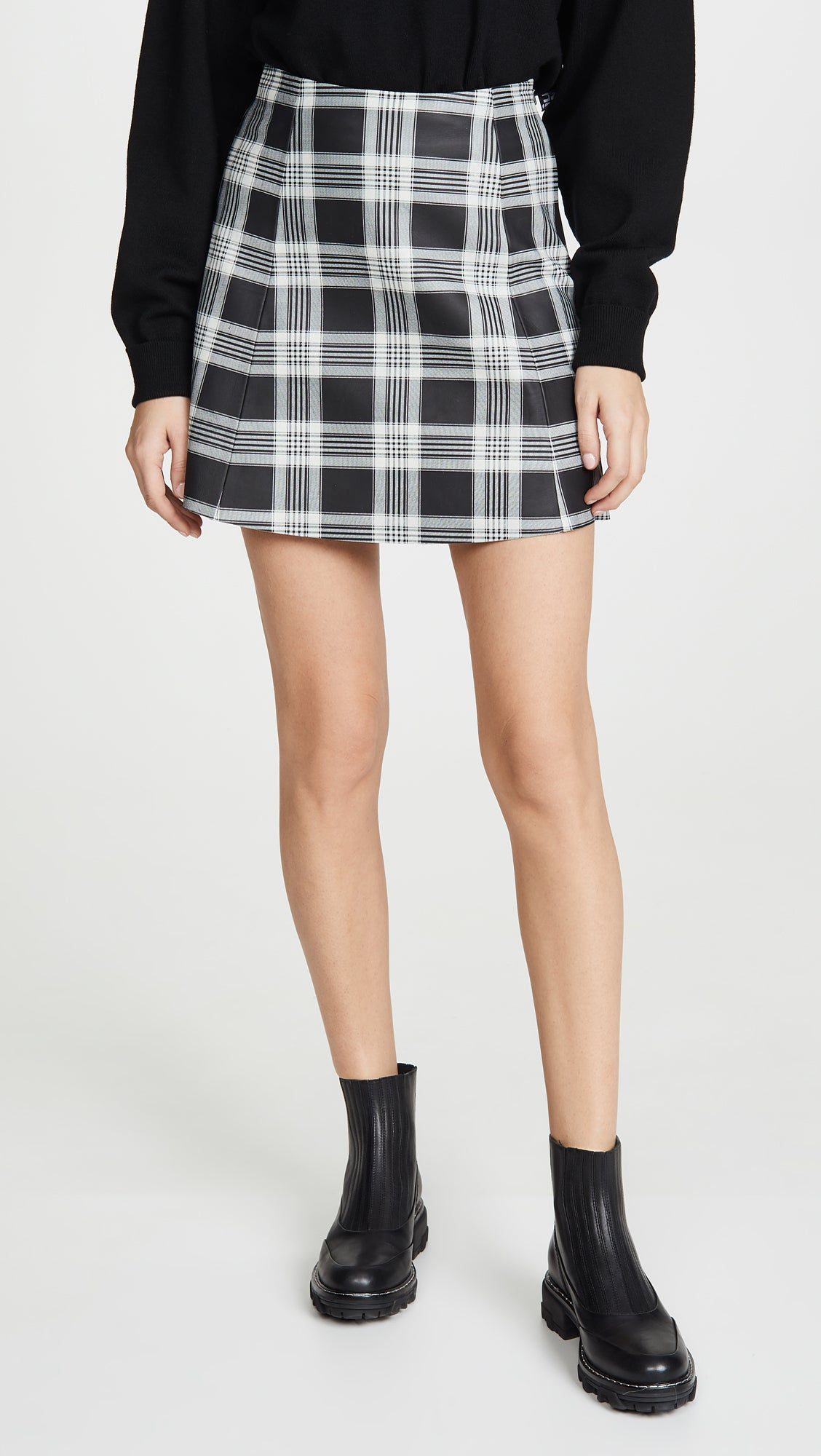 Circle Leather Skirt Tartan