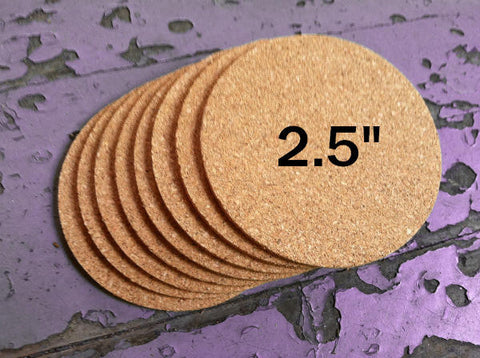 "2.5"" ROUND Cork Coasters, 1/8"" Thick"