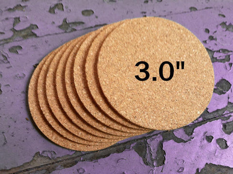 "3.0"" ROUND Cork Coasters, 1/8"" Thick"