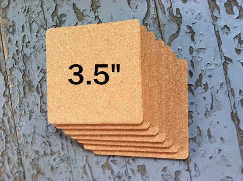 "3.5"" SQUARE Cork Coasters, 1/8"" Thick"