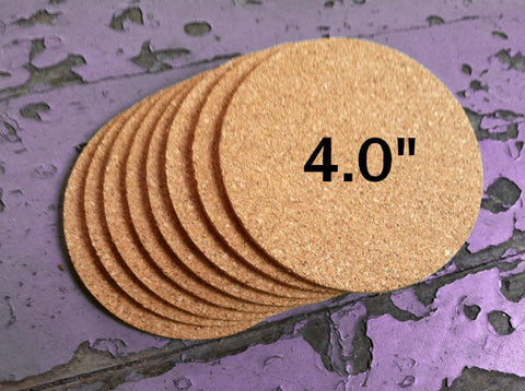 "4.0"" ROUND Cork Coasters, 1/8"" Thick"